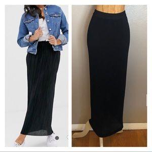 Vintage maxi plisee black skirt